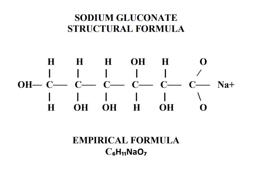 Sodium Gluconate Structural Formula found in Clean in Place (CIP) Chemistry for the Ethanol Industry.